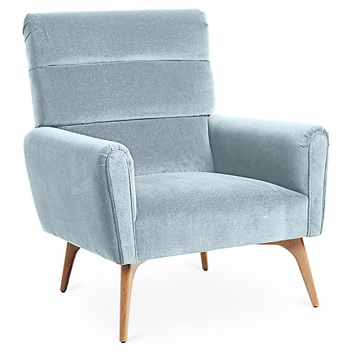 Devon Accent Chair, Sky Blue Velvet