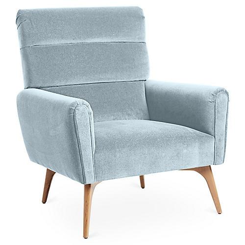 Devon Accent Chair, Sky Blue Velvet