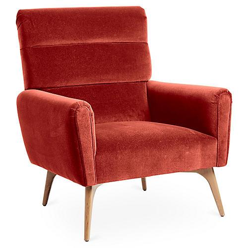 Devon Accent Chair, Cinnabar Velvet