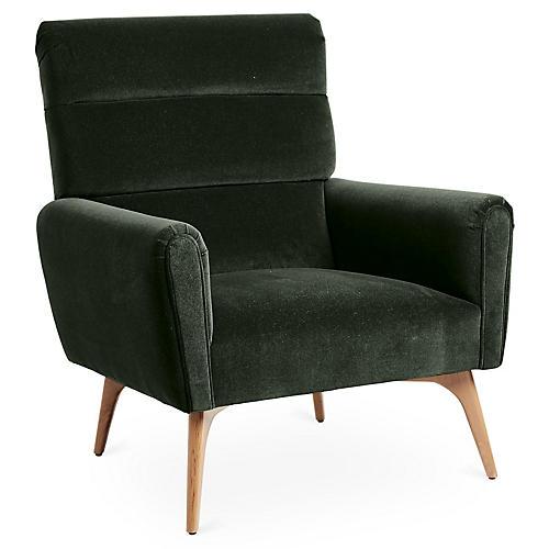Devon Accent Chair, Forest Velvet