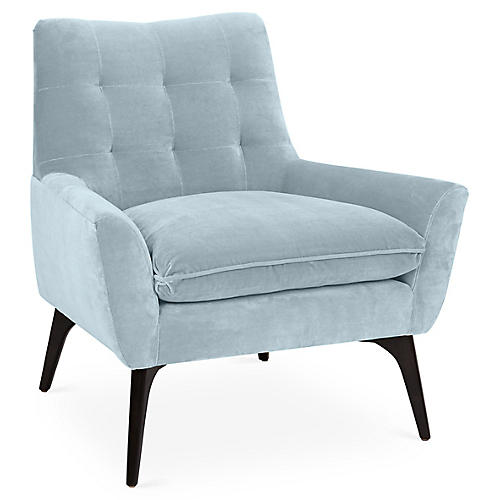 Lawrence Accent Chair, Sky Blue Velvet
