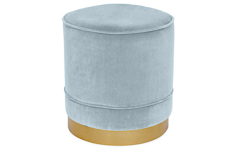 Piper Stool, Sky Blue Velvet