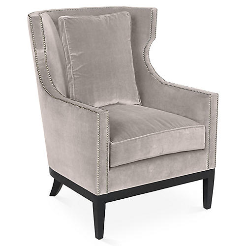 Roswell Wingback Chair, Light Gray Velvet