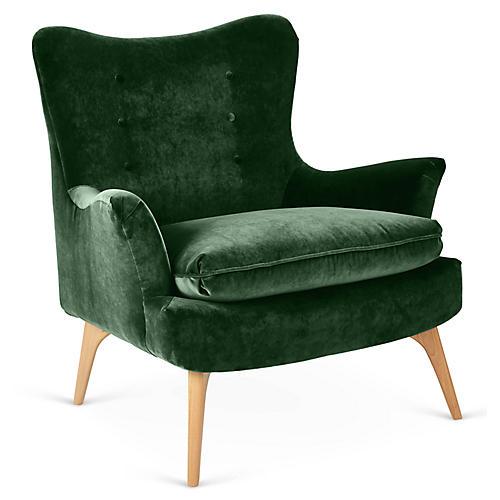 Sonja Accent Chair, Emerald Velvet