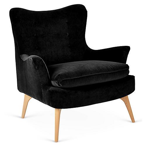 Sonja Accent Chair, Black Velvet