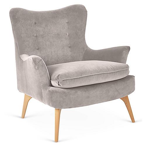 Sonja Accent Chair, Dove Velvet