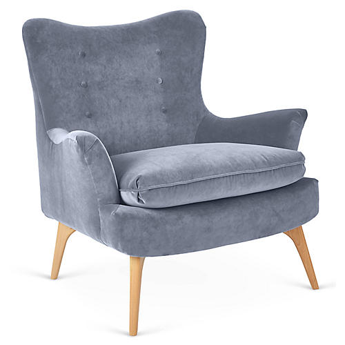 Sonja Accent Chair, Delft Blue Velvet