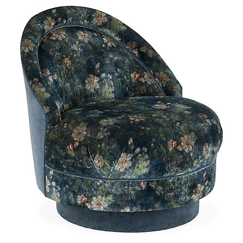 Iris Swivel Glider Chair, Jade Velvet