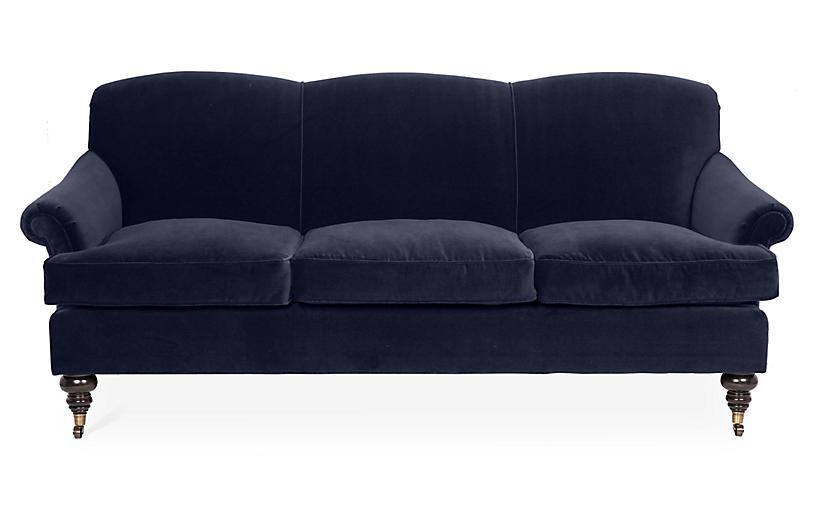 Joplin Sofa, Navy Velvet