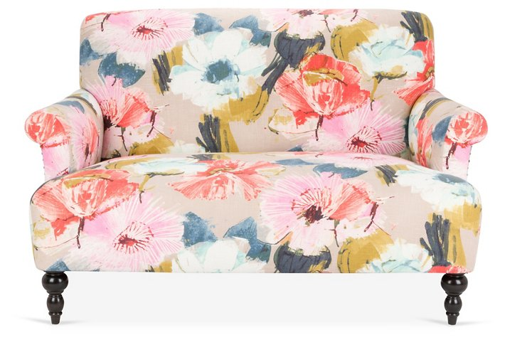 Grayson Settee, Pink Crypton - Settees - Sofas & Settees - Living ...