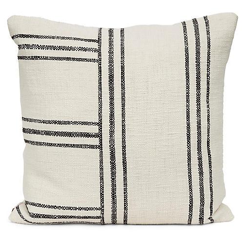 Bowen 20x20 Pillow, Black/Ivory