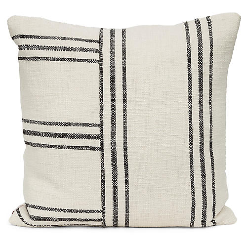 Bowen 20x20 Pillow, Black/Ivory
