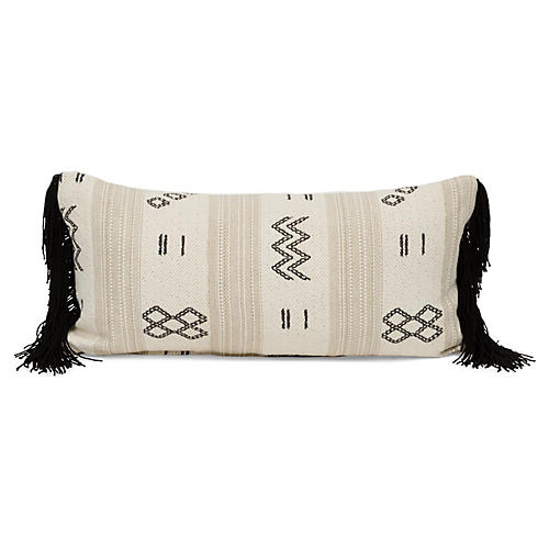 Olina 14x28 Lumbar Pillow, Black/Cream