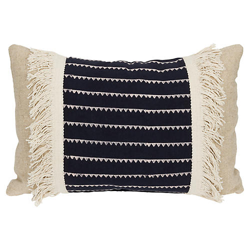 Sharay 16x24 Lumbar Pillow, Dark Blue/Cream