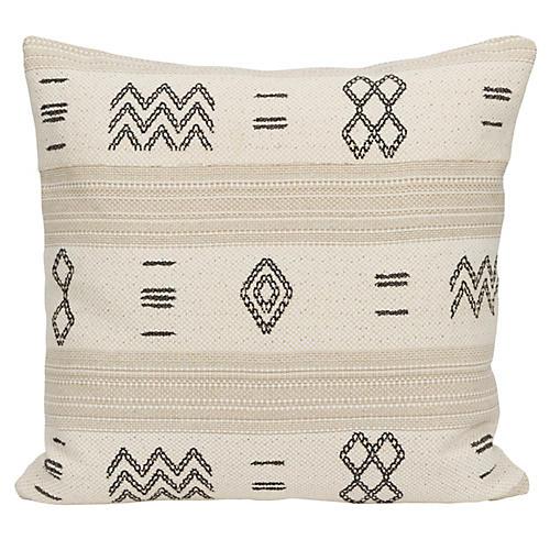 Olina 22x22 Pillow, Black/Cream