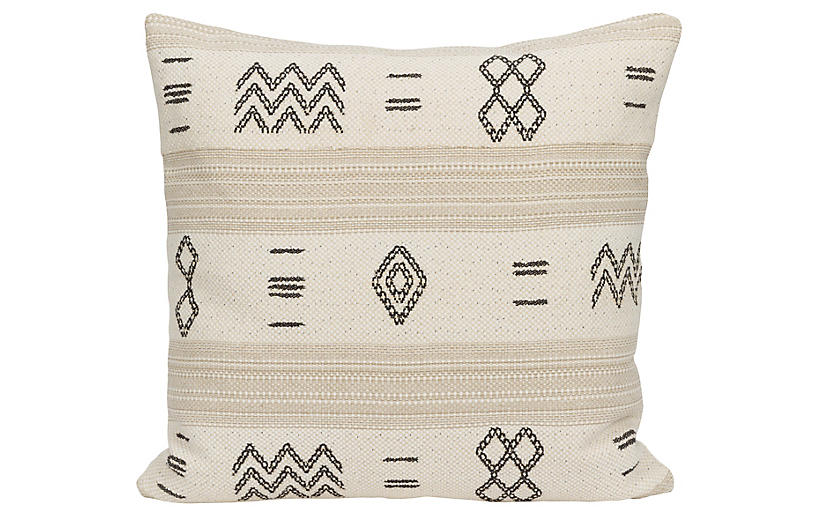 Olina 22x22 Pillow, Black/Cream