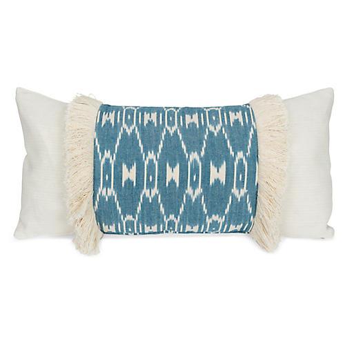 Paz 14x28 Lumbar Pillow, Teal/Ivory