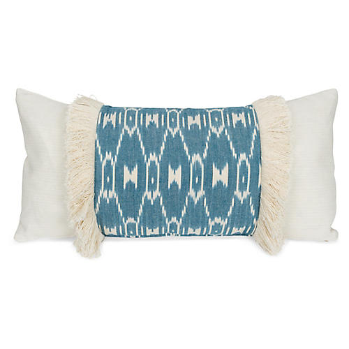 Paz 14x28 Lumbar Pillow, Teal/Ivory