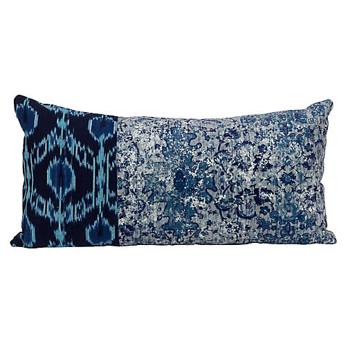 Hana 14x28 Lumbar Pillow, Blue