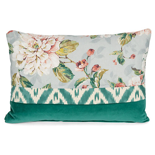 Bella 14x20 Lumbar Pillow, Green/Multi