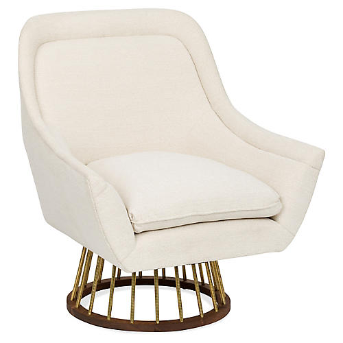 Larson Accent Chair, Ivory Crypton