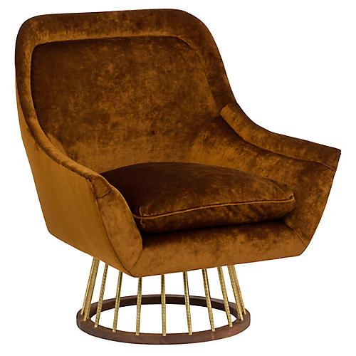 Larson Accent Chair, Cognac Velvet