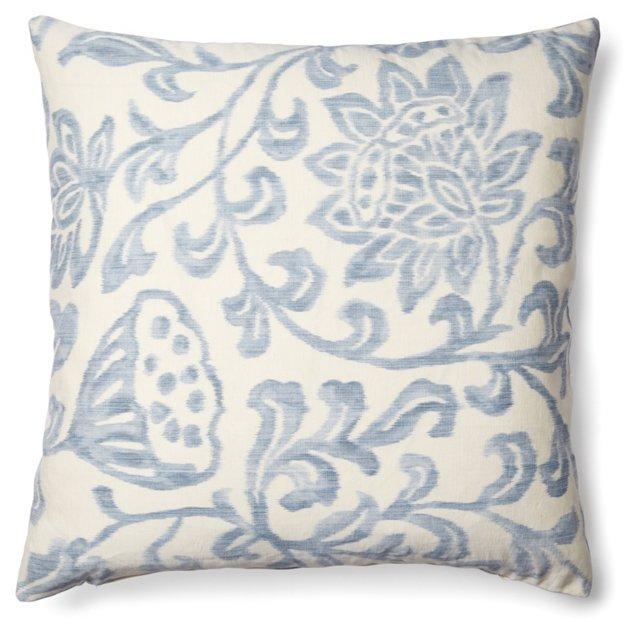 Jacobean 20x20 Linen Pillow, Blue
