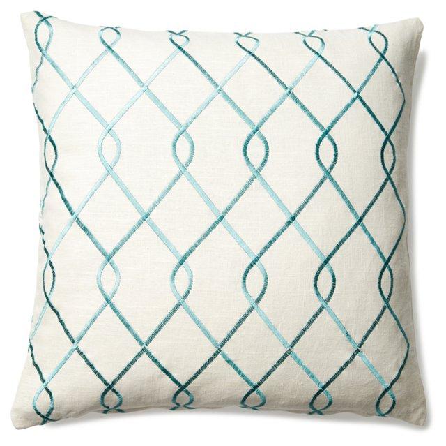 Lattice 20x20 Linen-Blended Pillow, Blue