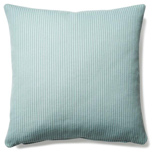 Stripe 20x20 Linen-Blended Pillow, Blue