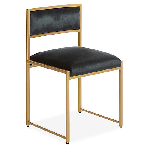 Carlyle Brass Side Chair, Black Velvet