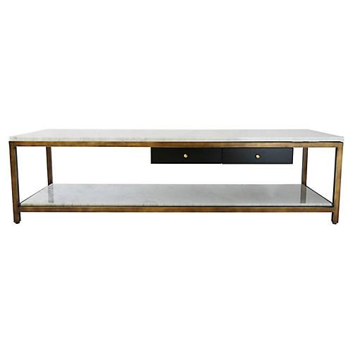 "Anders 60"" Coffee Table, Polished Brass"