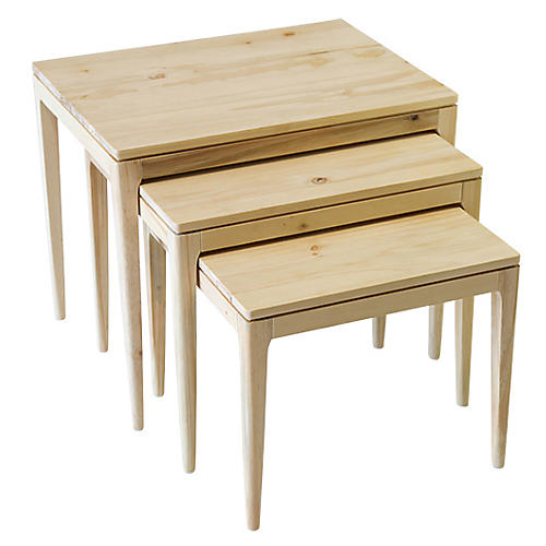Asst. of 3 Mollie Nesting Tables, Natural