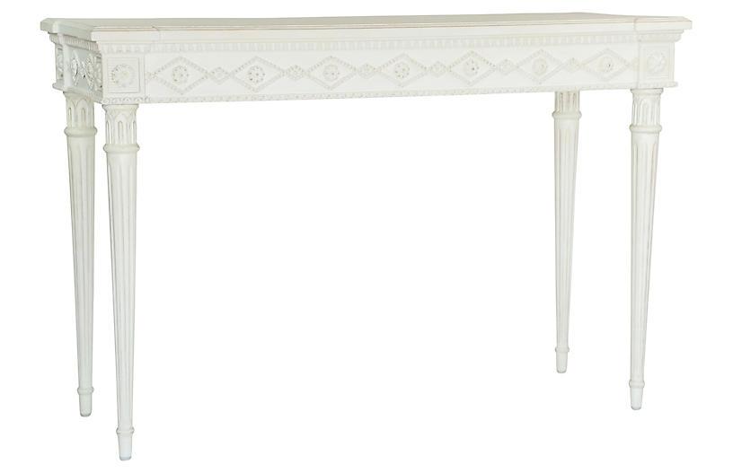 Aria Console, Antiqued White