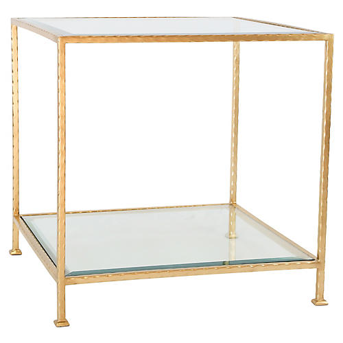 Chloé Glass Side Table, Gold Leaf
