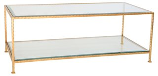 Ave Home - Chloé Glass Coffee Table, Gold Leaf One Kings Lane