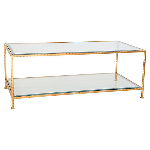 Chloé Glass Coffee Table, Gold Leaf
