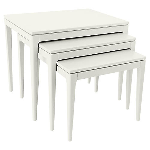 Asst. of 3 Mollie Nesting Tables, Old White