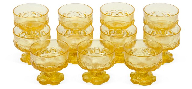 1960s Yellow Sherbet Glasses, Set of 11