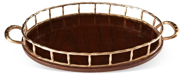 Rosewood & Brass Bamboo Tray