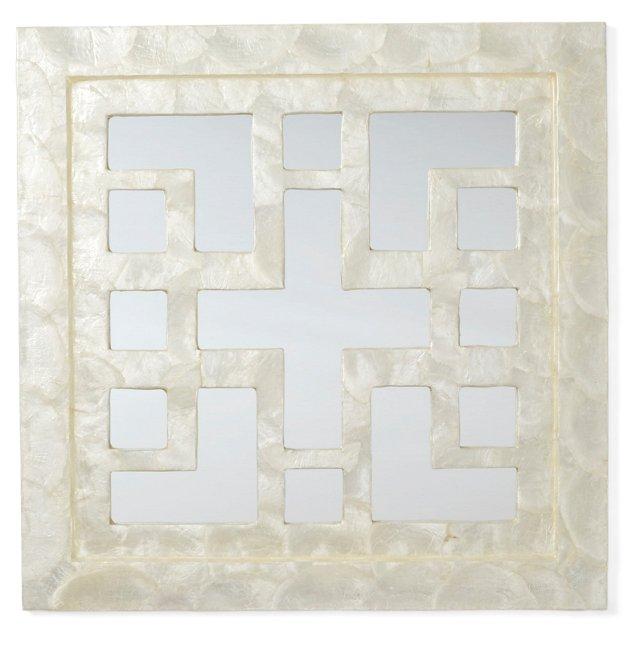 Capiz Greek Key Mirror, White