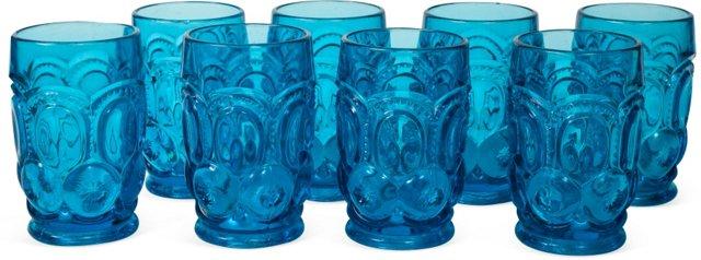 Blue Dimple Cut Glass Set, Set of 8