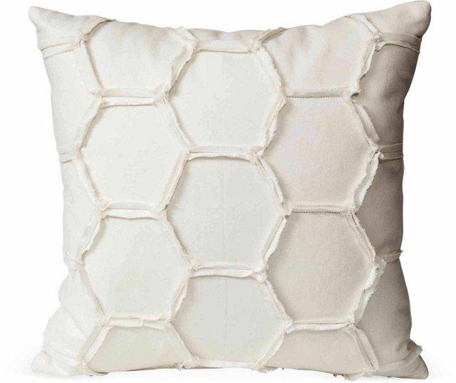 White Hexagonal Pattern Pillow