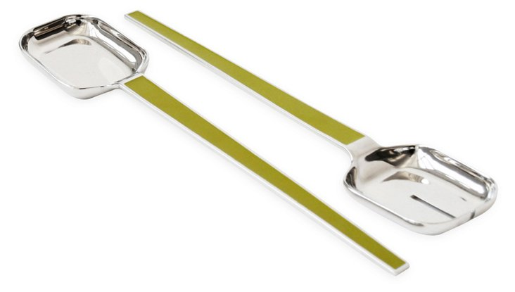 Enamel Serving Set, Green