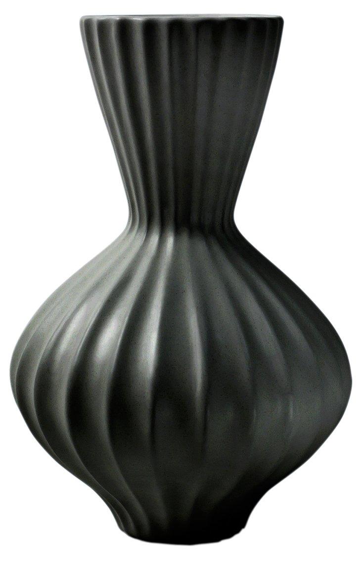 "10"" Bulb Vase, Black"