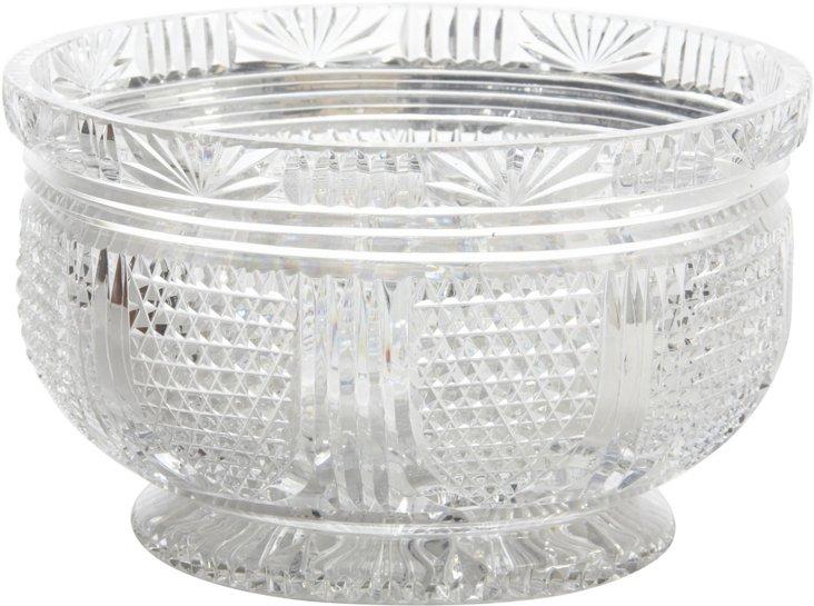 19th-C. Crystal Bowl w/ Diamond Shields