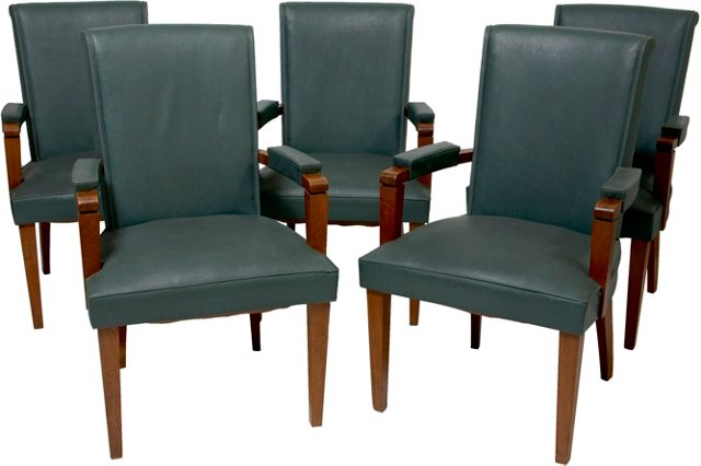 Vintage Leather Armchairs, Set of 5