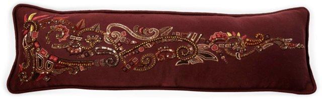 Long Burgundy Beaded Pillow