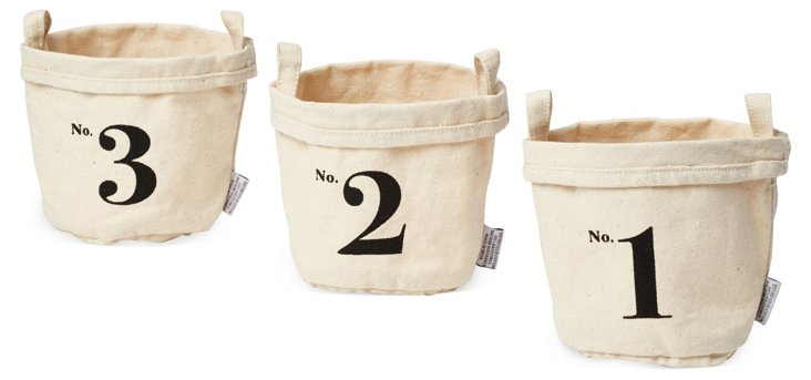 S/3 Numbered Canvas Buckets