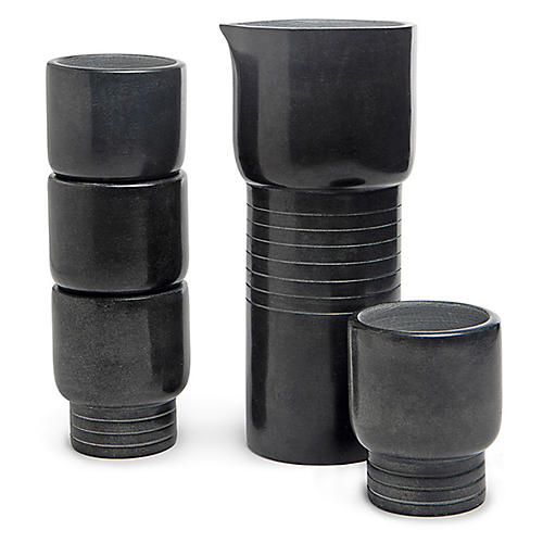 Asst. of 5 Whiskey Stone Tumblers w/ Carafe, Black