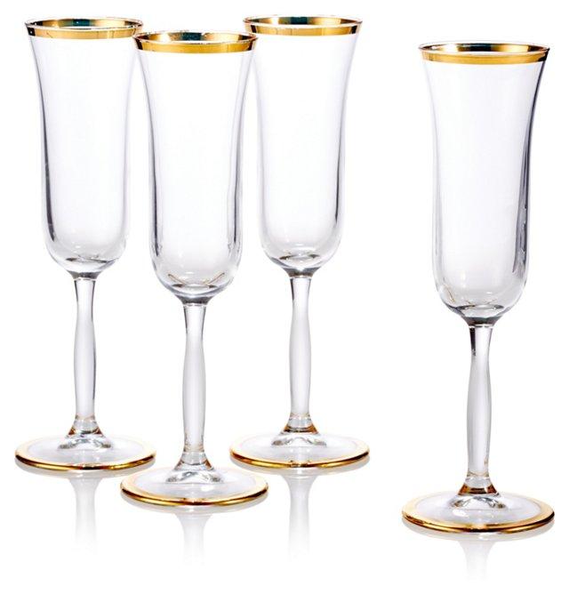 S/4 Flute Glasses w/ Gold Rim